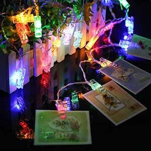 Ecurfu Photo Clips String Lights/Holder, Fairy Light Clear Clips for Hanging Photos Pictures Cards and Memos, Great for Thanksgiving Christmas Party Wedding Décor - 30 LED 10Ft Multi- Colors