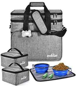 Mersuii Dog Travel Bag, Pet Travel Set Airline Approved Tote Organizer with 2 Collapsible Silicone Bowls, 2 Food Containers, Multi-Function Pockets for Dogs and Cats