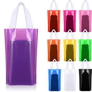 100 Pieces Reusable Party Favor Bags, 18 x 22 cm Merchandise Plastic Bags Block Bottom Bags with Handles Grocery Shopping Present Goody Bags, 10 Colors