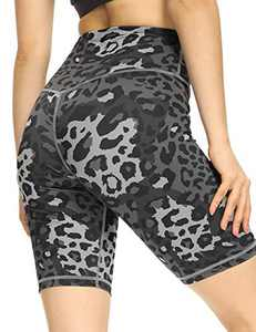 IOJBKI Workout Yoga Shorts for Women High Waist Tummy Control Compression Exercise Running Biker Shorts with Pockets(CL110-DG Leopard-XXL)