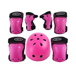 Weanas Helmets for 3-14 Years Kids Youth Adjustable Sports Protective Gear Set, Cycling Skating Safety Pad Safeguard (Helmet Knee Elbow Wrist Pads) (Pink Helmet Set, L (14years-Adult))