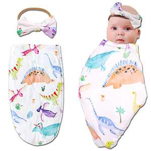 Dinosaur Cocoon Sack, Baby Swaddle Wrap, Receiving Swaddle Sack with Matching Headband, Soft Stretchy,Photography Prop, for 0-3 Months Baby Boy Girl Unisex