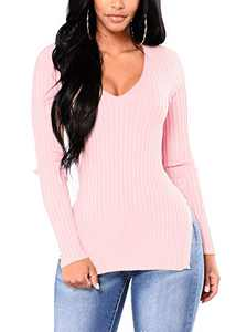 Cosygal Women's V Neck Long Sleeves Side Split Sheath Pullover Rib Knit Sweater Tops Pink Small