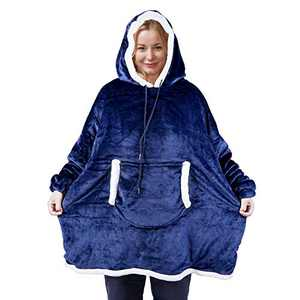 Hoodie Blanket Sweatshirt, Oversized Wearable Sherpa Fleece Pullover with Front Pocket, Super Soft Warm Cozy Throw for Men and Women, One Size Fits All (Navy)