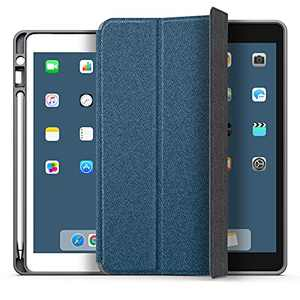 YOUMAKER [2021 Upgraded] Designed for iPad 8th Generation Case, iPad 7th Generation Case, iPad 10.2 Case with Pencil Holder Heavy Duty Protective Cover with Tri-Fold Stand for iPad 10.2 Inch-Blue