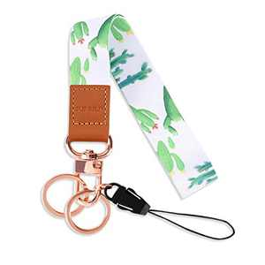 SUPGALIY Wrist Lanyard Keychain Cute Wristlet Strap for Women and Kids Printed Hand Wrist Strap Premium Leather Lanyard for Cell Phone Wallet ID Badge Card Holder and Keys (Cactus)