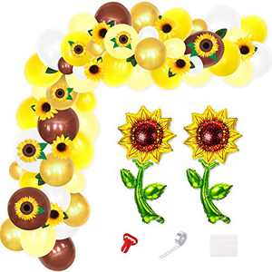 Sunflower Balloon Garland Sunflower Cutouts Artificial Sunflower Garland Vine Arch Kit for Sunflower Fall Rustic Birthday Baby Shower Wedding Bridal Shower Photo Props Favors