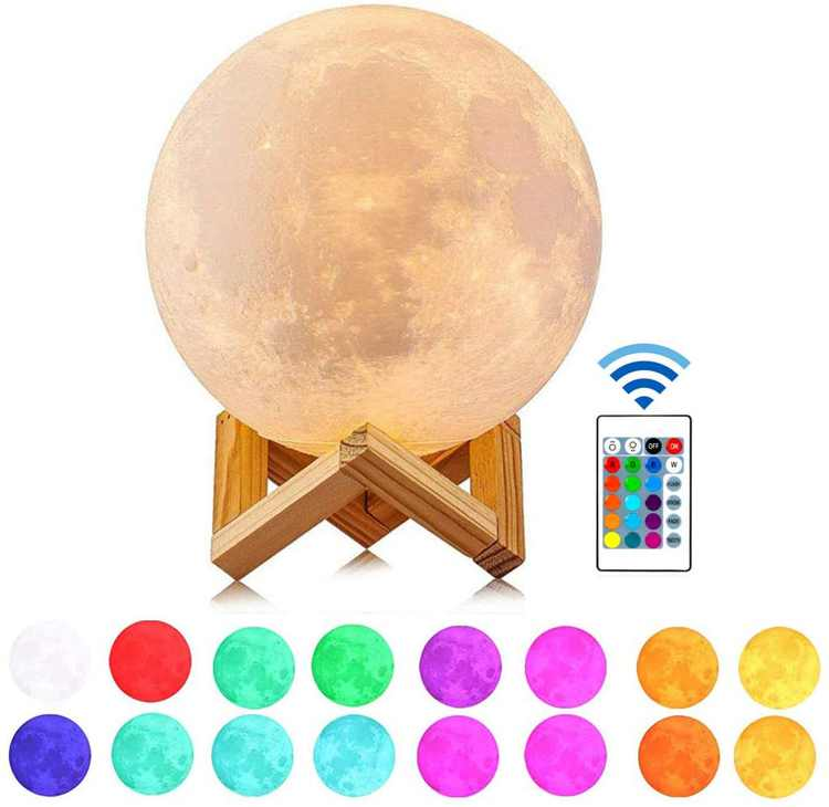 Guteauto Moon Lamp Night Light, 16 Colors LED 5.9 Inch Touch & Remote Control & USB Rechargeable 3D Moon Light for Kids, Baby Birthday Gift
