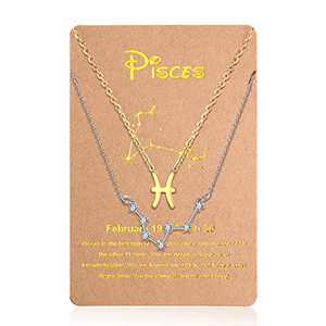 Hicarer 2 Pieces Zodiac Necklace Pendant 12 Constellation Necklace Gold Silver Astrology Horoscope Sign Chain with Constellation Card for Women Girl (Pisces)