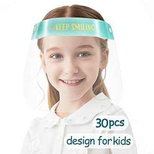 [US STOCK] 30 PCS Toddler Face Shield, Kids Safety Face Shields, Full Face Protection for Children, Reuable Anti Fog for Boys & Girls to Protect Eyes and Face