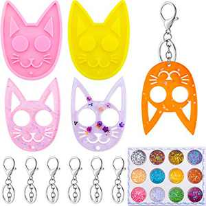 20 Pieces Cat Keychain Mold Set DIY Cat Pendant Resin Casting Silicone Mould Self-Defense Key Chain Epoxy Resin Mold with Blank Keychain and 12 Colors Sequin for DIY Craft Making (Yellow, Pink)
