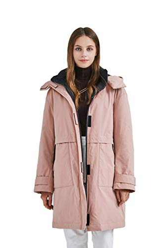 Luzern Goose Women's Mid Length Down Jacket Warm Winter Coat with Removeable Hood, Modern Water Resistant Parka for Ski