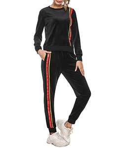 Sykooria Womens 2 Piece Tracksuit Long Sleeve Casual Patchwork Pants Set