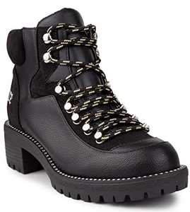 Juicy Couture Women's Boots Indulgence Lace Up Hiker Womens Booties with Studs and Lug Bottom Black 6.5
