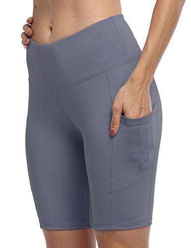 IOJBKI Workout Yoga Shorts for Women High Waist Tummy Control Running Biker Shorts with Pockets(IU311-Light NB-M)