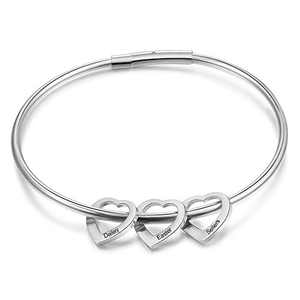 kaululu Mother's Day Birthstone Bracelet for Women Heart Bangle Personalized Bracelet with Family Names tainless Steel Bangle Christmas Gift for women