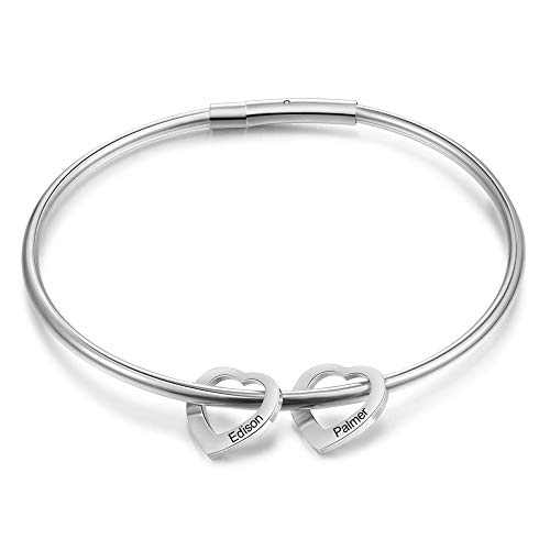 kaululu Mother's Day Birthstone Bracelet for Women Heart Bangle Personalized Bracelet with Family Names Stainless Steel Bangle Christmas Gift for women