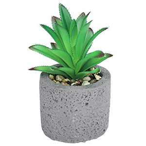 Hopewood Artificial Succulent Potted Plant Small Fake Pineapple in Pot Mini Faux Plant for Desk Farmhouse Indoor Decor (4.9inch) Tall