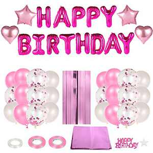 PAFUWEI Happy Birthday Balloon Pink Birthday Holiday Party Decoration Balloon Tassel Curtain Aluminum Foil Tablecloth Balloon Set
