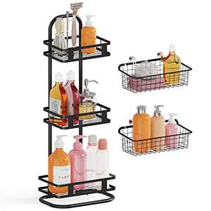 Veckle Standing Shower Caddy, 3 Tier Stainless Steel Corner Shower Shelf Organizer with 2 Wall Baskets, Bath Shelf Baskets for Bathroom, Shampoo, Conditioner, Soap, Kitchen, Black
