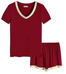 Women's Pajamas Set Short Sleeve Sleepwear Soft Shorts and Tops Pj Sleep Lounge Sets Nightwear Burgundy M