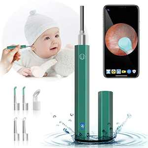 Ear Wax Removal Tool, Ear Wax Removal Kit with Camera, 1080P HD Wireless Ear Otoscope with 6 LED Lights & IP67 Waterproof Earwax Removal Endoscope for iPhone, iPad & Android Smart Phones(Green)