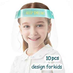 [US STOCK] 10 PCS Toddler Face Shield, Kids Safety Face Shields, Full Face Protection for Children, Reuable Anti Fog for Boys & Girls to Protect Eyes and Face