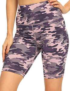 IOJBKI Workout Yoga Shorts for Women High Waist Tummy Control Compression Exercise Running Biker Shorts with Pockets(CL110-PP Camouflage-S)