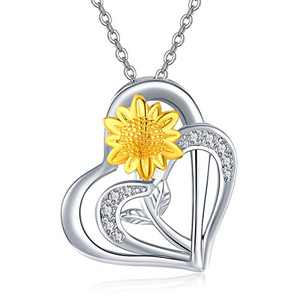 Silikepa Rose Heart Necklaces Sunflower Necklace for Women 925 Sterling Silver Double Love Heart Pendant Necklace Jewelry (Yellow)