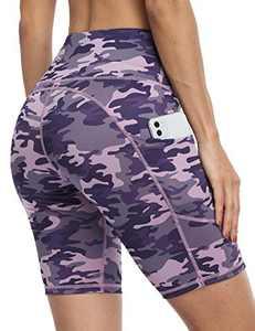 IOJBKI Workout Yoga Shorts for Women High Waist Tummy Control Running Biker Shorts with Pockets(IU311-PP Camouflage-XXL)