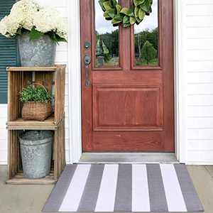 KOZYFLY Grey and White Striped Rug Doormat 2' x 3' Cotton Woven Washable Gray Indoor Outdoor Rugs for Layered Door Mats Porch/Kitchen/Farmhouse