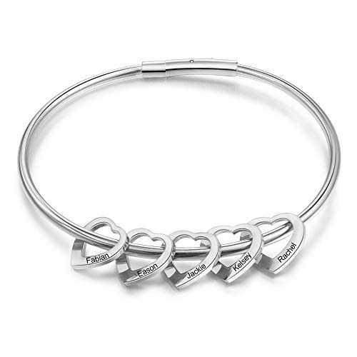 kaululu Mother Birthstone Bracelet for Women Heart Bangle Personalized Bracelet with Family Names Stainless Steel Bangle Christmas Gift for women