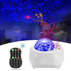 Galaxy Projector, BSYUN 2nd Version 3 in 1 Sound Activated Night Lights Projector with Remote Control for Bedroom Room Ceiling Wall Gift for Kids Adults - White