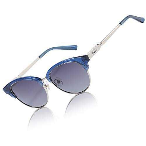 DUCO Sunglasses for Women Small Face Polarized UV Protection Classic Retro Designer Sunglasses DC1221 (Blue Frame)