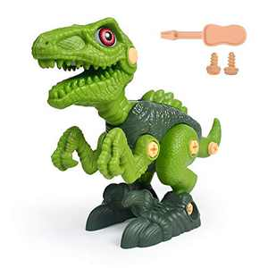 AINOLWAY Take Apart Dinosaur Toy Figures for Boys - Building Toy Set Construction Engineering Play Kit STEM Learning for Kids Age 3 4 5 6 7 Year Old (1 Velociraptor)