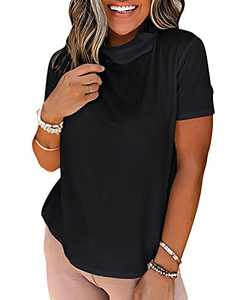 Jeanewpole1 Women's Mask Shirt Cowl Neck Short Sleeve Summer Knit Top with Mask Black