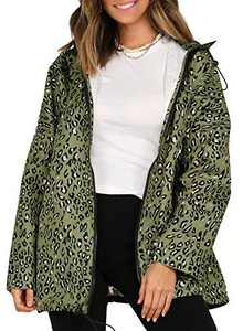 Leopard Print Windbreaker Women Long Sleeves Casual Sports Drawstring Hooded Jacket (Green, X-large)