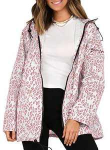 MIHOLL Women Leopard Print Windbreaker Jacket Casual Sports Coat with Pockets Hood (Pink, Small)