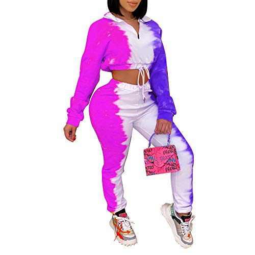 Women's Sweatsuit Tracksuit 2 Piece Outfits - Long Sleeve Polo Crop Top Casual Sweatpants Set Jogging Suit Purple L