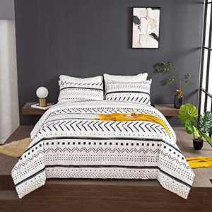 Wellboo Boho White Comforter Sets King Black and White Geometric Bedding Sets Black Striped Farmhouse Cotton Comforters Men Women Adult Modern Folkloric Quilts Lines Triangle Bedding Soft Health 3 PCS