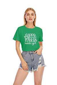 GEMLON St Patricks Day Irish Shirt Women Irish The One Where Today is My Holiday Short Sleeve Holiday T-Shirt (2-Green, M)
