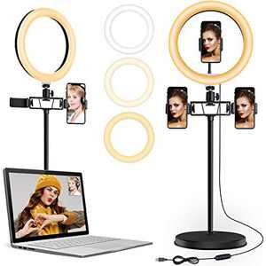 "10"" Selfie Ring Light for Laptop, LED Ring Light with Stand and 3 Phone Holder, Circle Light with Dimmable Desktop for Video Conference Lighting/TIK Tok/Live Streaming/Makeup/YouTube"