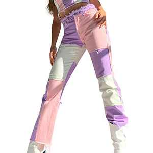 Womens Patchwork Jeans High Waist Stretch Distressed Straight Denim A-line Vintage Pencil Trousers Skinny Leggings Pants (Pink, M)