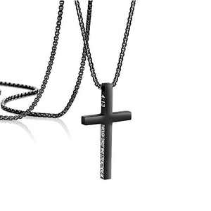 MEMGIFT Philippians 4:13 Black Cross Pendant Necklace for Men Boys Bible Verse Stainless Steel Christian Necklaces Engraved I Can Do All Things Through Christ Who Strengthens Me 18 Inches