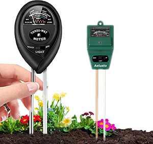 Aelusto 2pack 3-in-1 Soil Moisture/Light/pH Tester, ph Meter Indoor Plants Care for Garden, Lawn, Farm, Indoor & Outdoor,Soil Tester Kits,No Battery Needed (Green+Black)