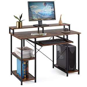 EROMMY Computer Desk with Open Storage Shelves,Modern Sturdy Writing Desk with Keyboard Tray and Monitor Shelf for Home Office