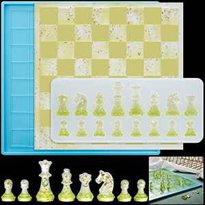 3D Chess Silicone Mold Chess Pieces Silicone Resin Mold Chess Shape Resin Mold with Chess Board Mold for Resin Casting Jewelry Epoxy Resin Mold for DIY Jewelry Crafts Projects