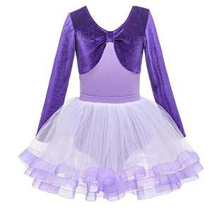 Girls Dance Leotards for Ballet Dress Kids Long Sleeve Kid Gymnastics Leotard Dress (100, Purple Velvet Girls Dance Leotards)
