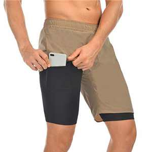 TMEOG Men Shorts, 2 in 1 Men's Running Athletic Shorts with Back Zipper Pocket Quick Dry Shorts, Breathable Double Layer Workout Gym Pants with Built-in Pocket (Khaki, EUR XXL= US XL)