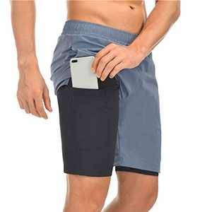TMEOG Men Shorts, 2 in 1 Men's Running Athletic Shorts with Back Zipper Pocket Quick Dry Shorts, Breathable Double Layer Workout Gym Pants with Built-in Pocket (Blue, EUR XXL= US XL)